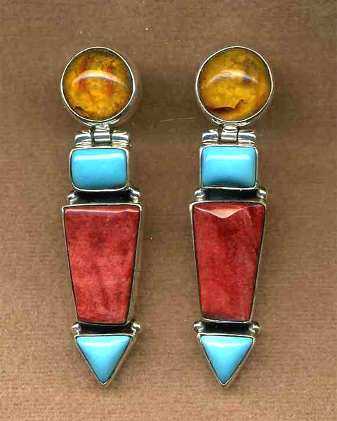 Multi-stone Hinged Post Earring